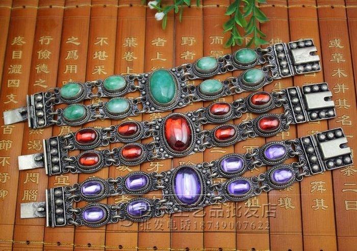 古玩復古男女式首飾飾品鋯石翠玉包銀手鏈三色可選