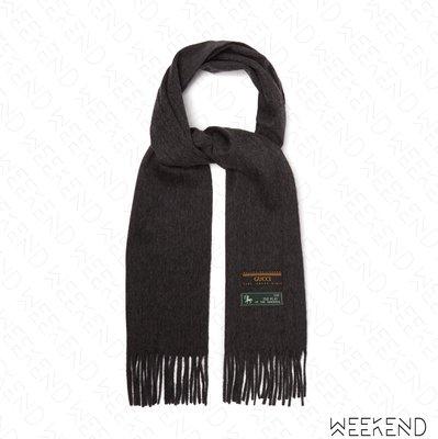 【WEEKEND】 GUCCI Logo Tag 標籤 流蘇 羊毛 圍巾 灰色 20春夏
