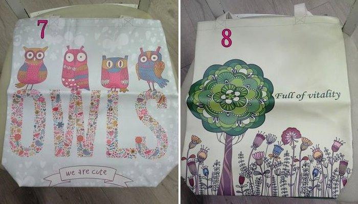 美生活館---全新日式雜貨ZAKKA鄉村風貓頭鷹玫瑰熊花草英國國旗報紙 皮革材質 購物袋 手提袋--7-8