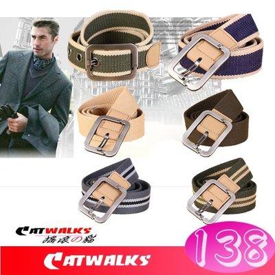 台灣現貨  * Catwalks 軍規感粗針扣加厚帆布腰帶 ( 卡其條紋、藍色條紋、卡其、軍綠、軍綠條紋、灰色條紋 )