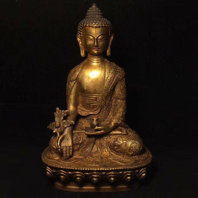 一0425  C純銅鎏金【藥師佛】老銅佛像尺寸: 長12, 寬7.5, 高20公分 重1146克