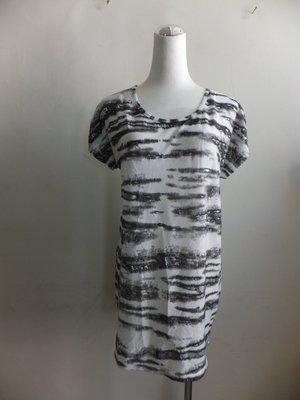 專櫃 NON-STOP 夏季  類斑馬紋 燙銀 長版 薄 針織衫 / 洋裝 - 白底銀灰圖案-F號-新