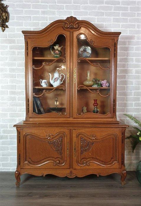 【卡卡頌  歐洲古董】法國老件~ 法式 典雅 橡木雕刻  玻璃  展示櫃  珠寶櫃  收納櫃 餐櫃  c0289 ✬