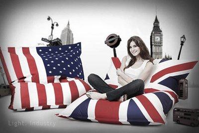 ~ 輕工業 ~復古英國美國國旗懶人沙發~瑞典澳洲單人沙發椅靠墊懶骨頭抱枕工業風美式英式北歐