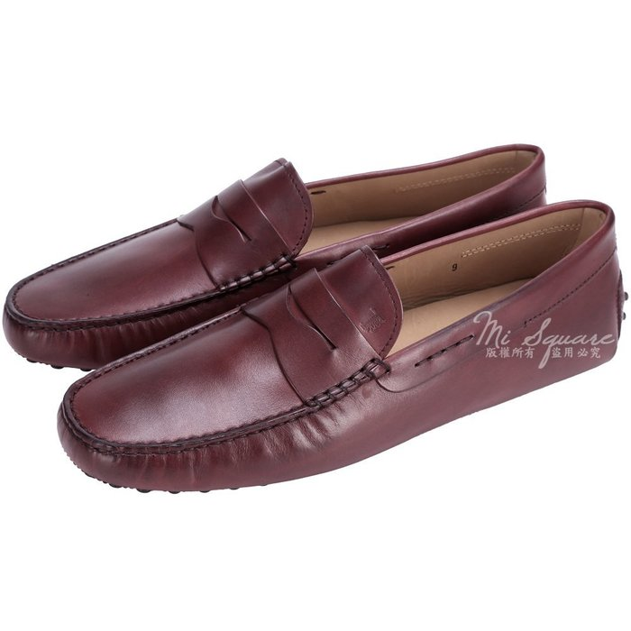 米蘭廣場  TOD'S Gommino Driving 酒紅色牛皮豆豆休閒鞋(男款/展示品) 1490047-A8