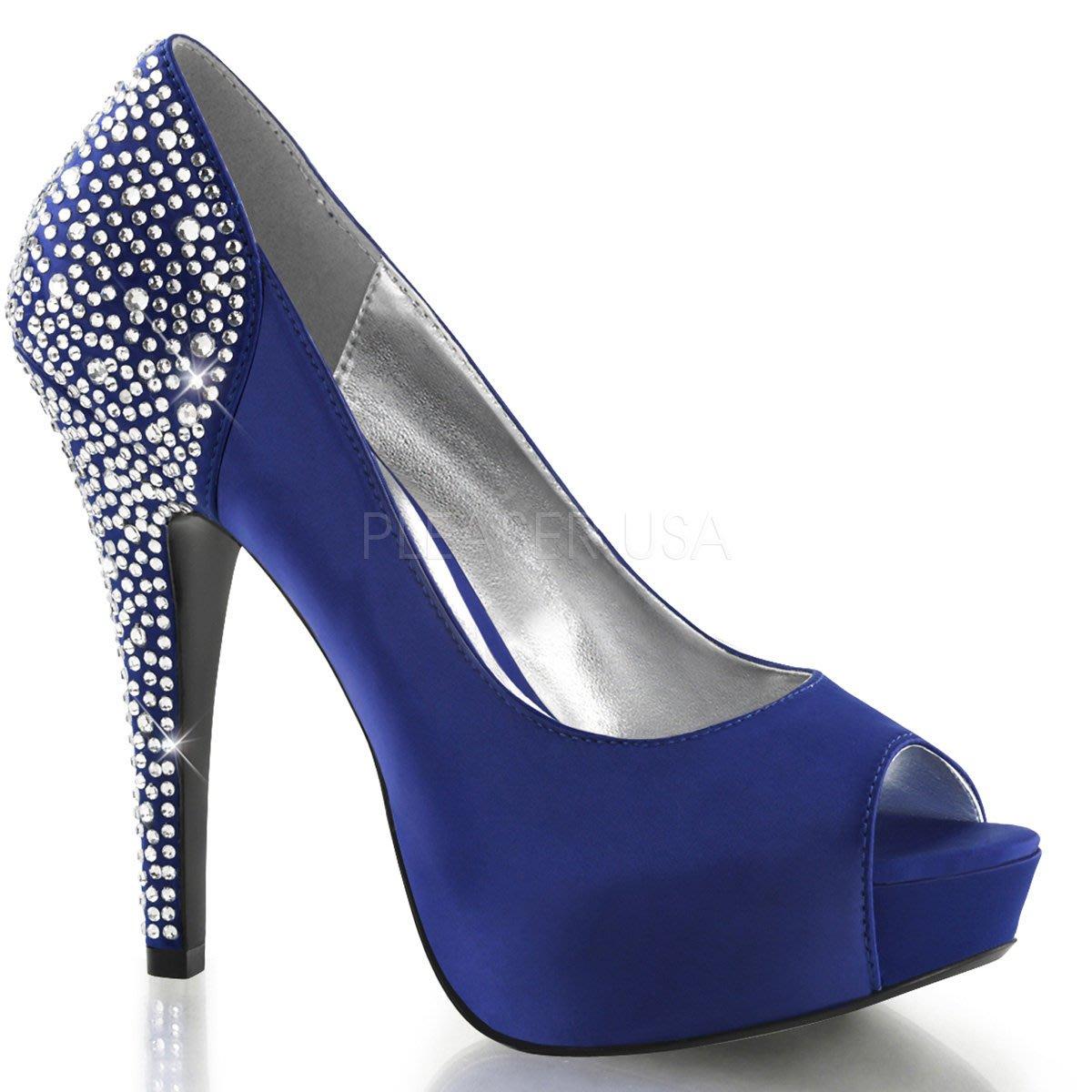 Shoes InStyle《五吋》美國品牌 FABULICIOUS 原廠正品水鑚緞面厚底高跟魚口鞋 有大尺碼『藍色』