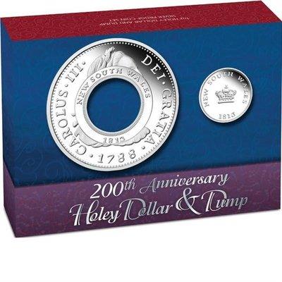 澳洲 紀念幣 2013 南威爾斯錢幣二百周年紀念幣(HOLEY DOLLAR AND DUMP) 原廠原盒