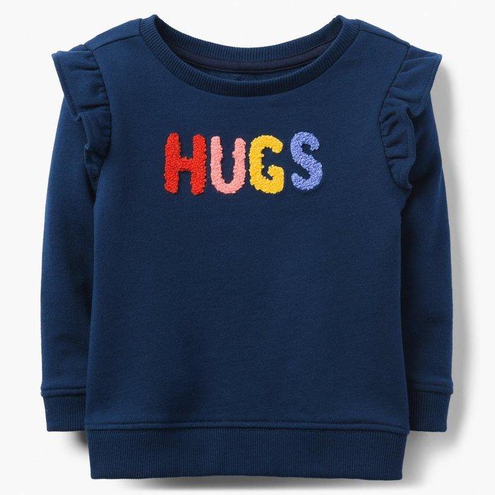 秋冬新品 滿額折扣 ✈ Gymboree 健寶園 女童裝 / 長袖上衣 公主袖 立體造型彩色字母 / HUGS