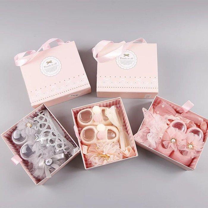 女寶寶可愛甜美蕾絲襪子髮帶彌月禮盒