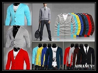 【AIMANUY-艾曼妞服飾】【25現貨+預購】韓版男士修身長袖針織衫v領休閒開衫薄款外套J42