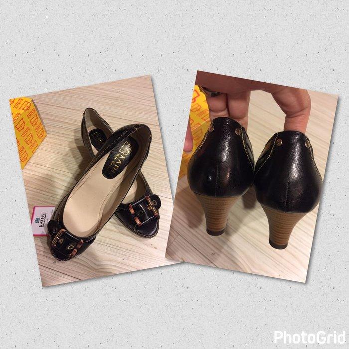 設計師品牌Kathy van zeeland黑色皮革楔型魚口鞋