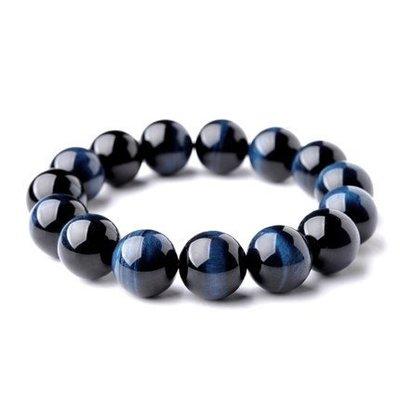 □§Disk的天然水晶§□【勇者之石】藍虎眼石(藍鷹眼石)圓珠手鍊(12mm)FF03