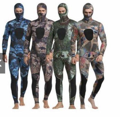 自由潛水漁獵打漁魚浮潛濕式兩件式迷彩防寒衣潛水衣潛水服3mm 5mm迷彩自由潛水防寒衣