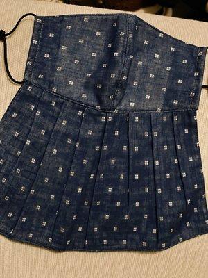 天使熊雜貨小鋪~新純手工日本布立體口罩(格紋-藍)大人加長版-單車必備 全新現貨