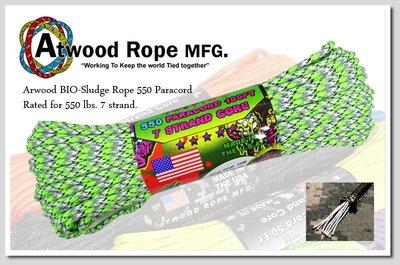 Atwood Rope 綠灰黑迷彩色殭屍系列傘兵繩 / 100呎Z07-BIO-SLUDGE