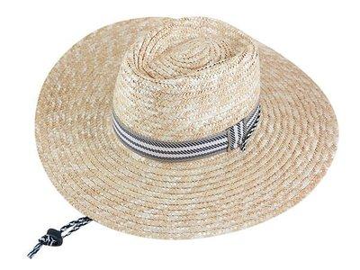 墾丁春浪音樂節 指定 型男 麥桿4吋大草帽 條紋織帶 /帽簷超大可折/ 登山草帽/灰白織帶