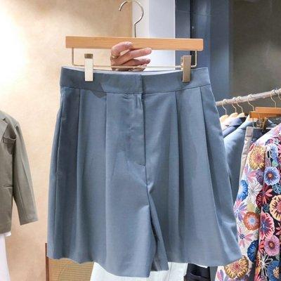 西裝褲寬褲 韓式穿搭簡約素雅高腰西裝闊腿褲短褲 艾爾莎【TAE8412】