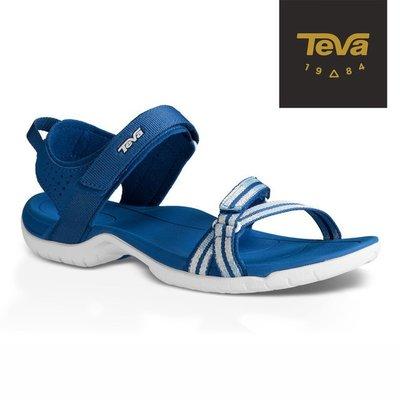體育課TeVa TV1006263TZB條紋藍 女碼 SHOCKPAD專利避震科技 Verra織帶運動涼鞋