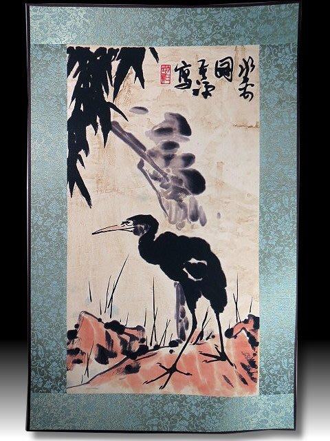 【 金王記拍寶網 】S1329  中國近代書畫名家 名家款 水墨 花鳥圖 居家複製畫 名家書畫一張 罕見 稀少
