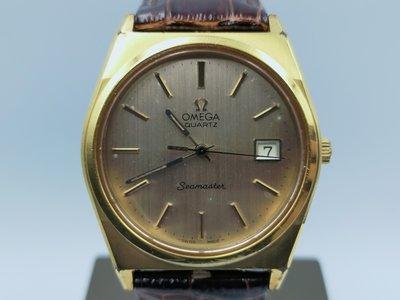 【發條盒子A1960】OMEGA 歐米茄  Seamaster 海馬 鍍金石英  經典皮帶男錶 追蹤