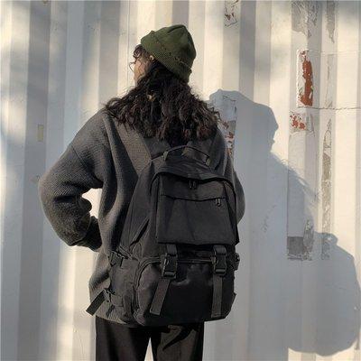 My fit guys 個性 復古日系 ins 休閒 大容量 雙肩包 後背包 工裝包 旅行包 書包 情侶包 黑 預購