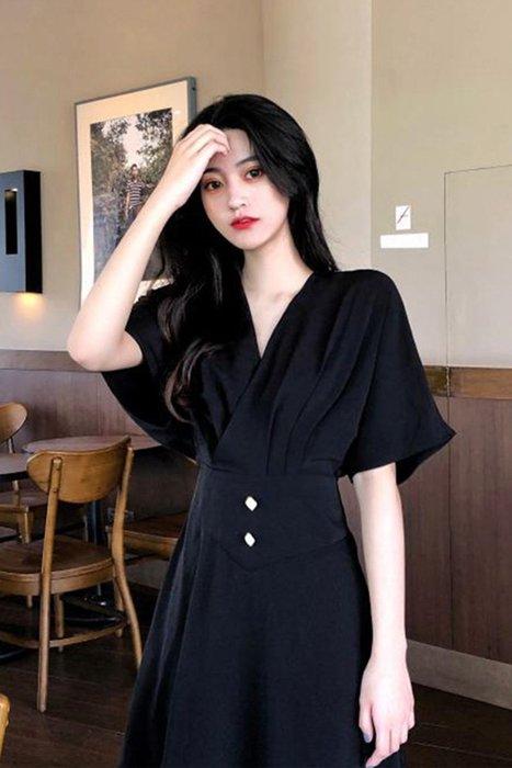[C.M.平價精品館]S~XL/收腰顯瘦簡約V領修飾臉型遮肉短袖洋裝