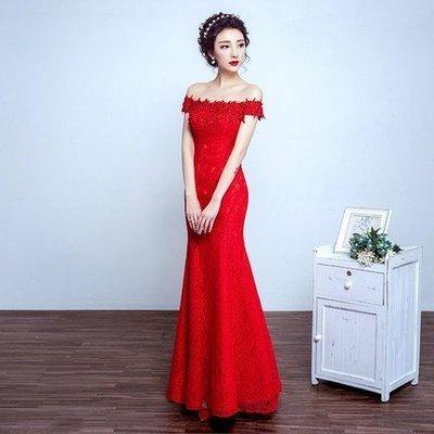 大小姐時尚精品屋~~一字肩紅色新娘伴娘晚會主持人婚紗禮服~3件免郵