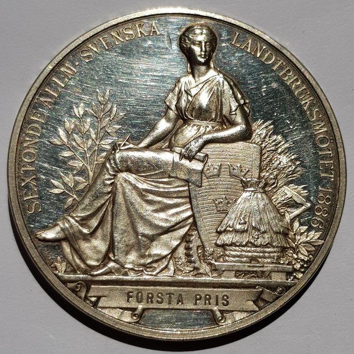 瑞典銀章1886 Sweden Oskar II  Sixteenth Congress Silver Medal.