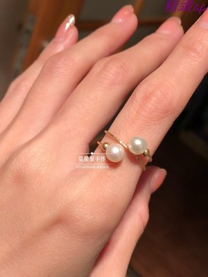 精緻life星星里手作純手工編織14k包金淡水珍珠可調節雙圈雙層戒指指環女