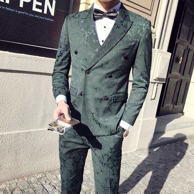 【時尚先生男裝】韓版西裝西服套裝男士雙排扣西服三件套西裝套裝主持人司儀新郎伴郎結婚禮服加大碼雅痞紳士新郎伴郎結婚禮服修身顯瘦商務西裝 HY381