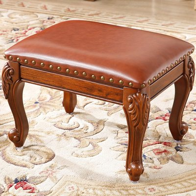 【睿智精品】歐式古典傢俱 高貴典雅 矮凳 牛皮換鞋椅 客廳擺設(GA-4752)