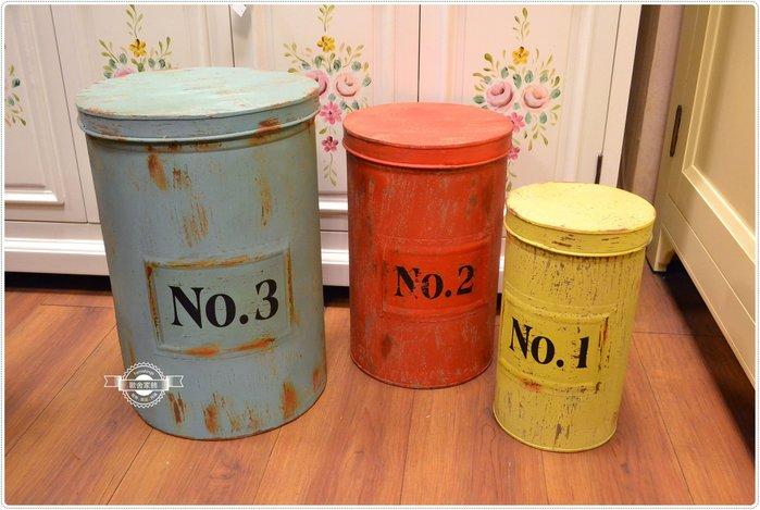 工業風刷舊三入收納桶 圓形置物箱玩具箱雜物收納編號歸類鐵桶垃圾桶回收桶擺設擺飾 美式復古鄉村風【【歐舍家飾】】