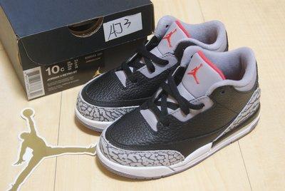 NIKE AIR JORDAN 3 RETRO OG BT 黑水泥Black Cement爆裂紋童鞋832033-021