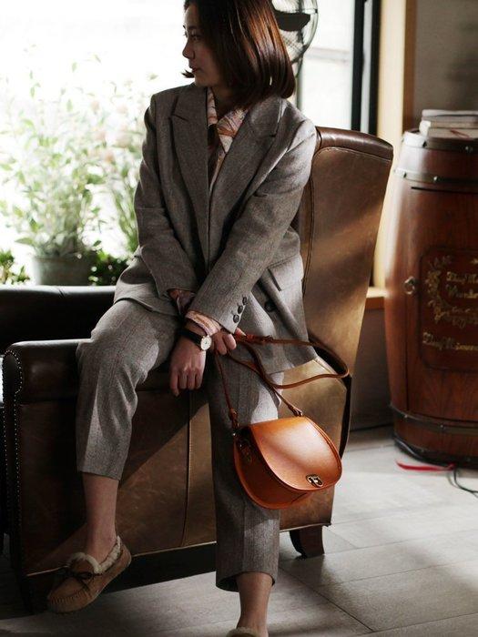 NYCT 韓國熱賣限定原創 高品質 歐美韓星百搭時尚必備款小眾半圓復古馬鞍包女包真皮斜挎包手工頭層牛皮高級感洋氣單肩包