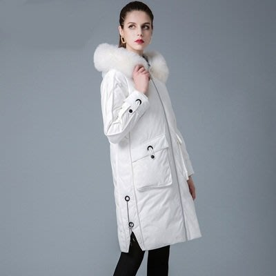 羽絨 外套 連帽夾克-狐狸毛領大口袋純色白鴨絨女外套5色73um6[獨家進口][米蘭精品]