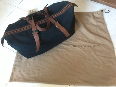 Used Bottega Veneta canvas duffle bag with leather straps 二手BV深藍色帆布真皮手挽帶旅行袋