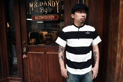 (I LOVE 樂多) Retrodandy Wide Border S/S Henley 短袖囚犯亨利領上衣 (黑色)