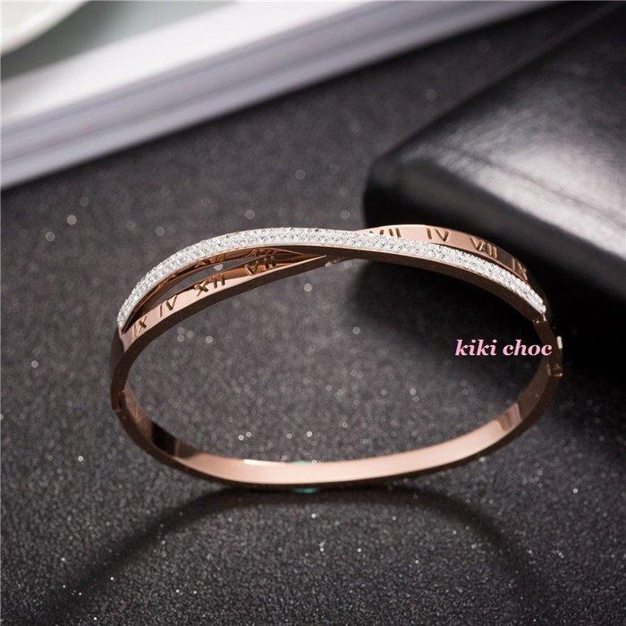 ♥kiki choc♥韓國 *鈦鋼材質 不過敏* 交叉設計超閃亮排鑽水鑽+羅馬數字手環手鍊手鏈手鐲 施華洛style