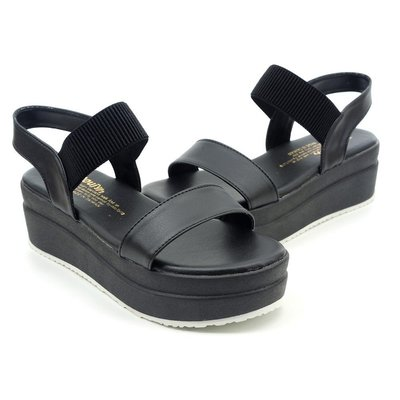 ❤含運❤鞋念 美人館 MIT簡約一字鬆緊帶露趾厚底涼鞋-黑色 37.39碼 (5267-89)