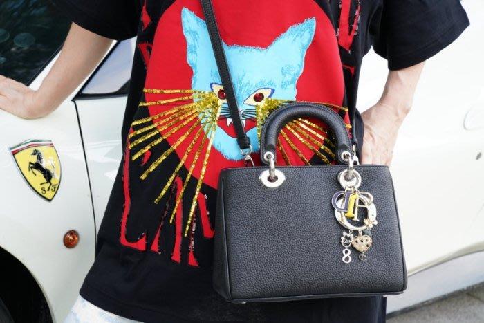 DIOR Mini DIORISSIMO M0915 bag 迷你手提肩背包 黑/桃紅