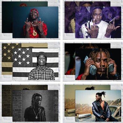 免運/最小尺寸任選5張唷唷Asap A$AP/Fetty Wap/joey badass/Lil Yachty說唱嘻哈海報掛畫圖