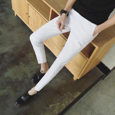 夏季薄款韓版九分褲男修身顯瘦小腳褲男士潮流休閒褲子西裝褲