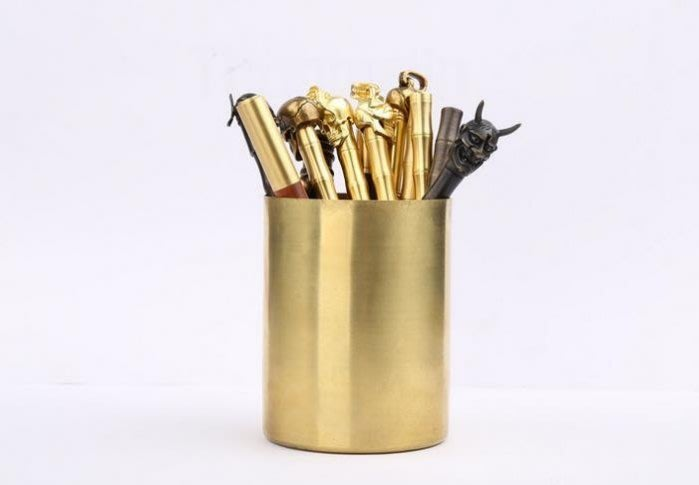 5C精選@經典復古黃銅筆筒 純銅文具桌面收納 手工拉絲拋光筆筒