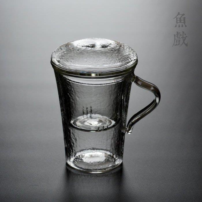 5C精選@錘紋加厚耐熱玻璃茶杯辦公杯帶蓋 過濾泡茶馬克杯帶把