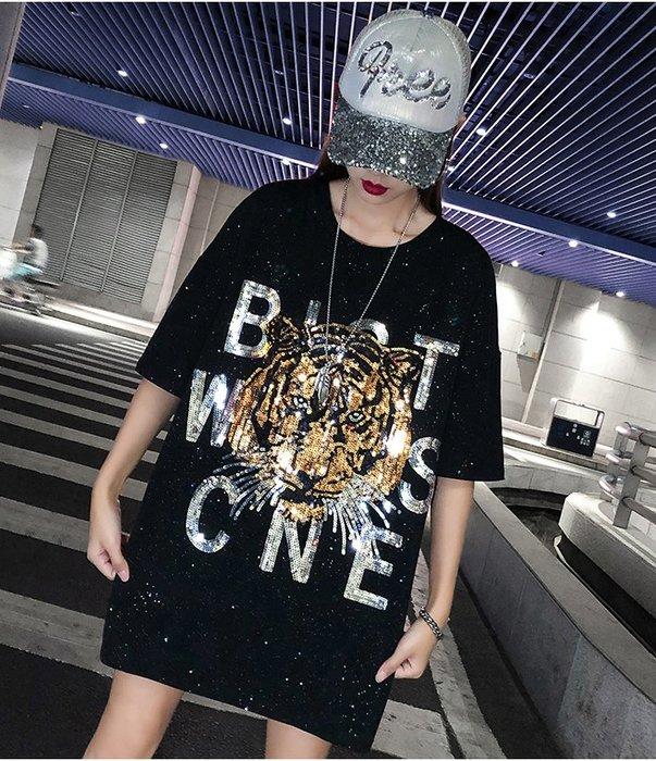 ♥PK漂亮♥ F18080 S~2XL號 黑色閃亮片老虎頭潮牌重工短袖T恤短裙連身洋裝 白2色