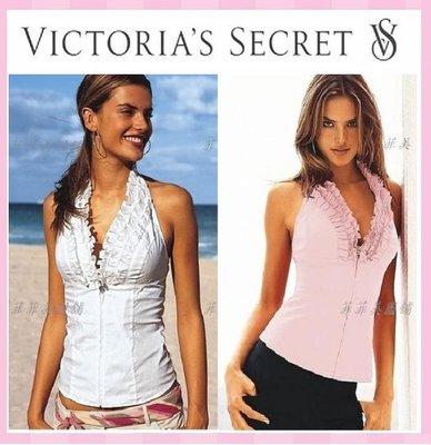 【菲菲美國舖】設計師時尚。現貨~* Victorias Secret *~甜美花瓣領❤性感深V繞頸馬甲式柔棉背心上衣