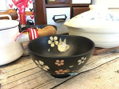 日本帶回-TOTORO 龍貓 美濃燒手繪湯碗 和風櫻花黑 碗