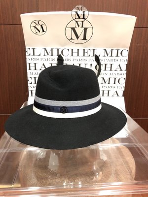 未使用真品mm帽maison Michel 黑色兔毛帽 可刷卡分6期joey7117