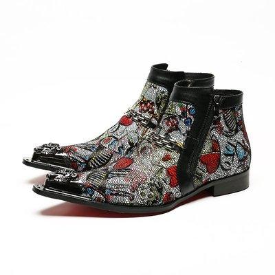 個性時裝男皮鞋 潮流真皮尖頭牛仔靴短靴皮靴外貿休閑復古時尚美發師男靴個性潮靴