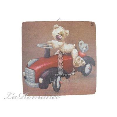 【芮洛蔓 La Romance】義大利 Dekor Toscana 兒童版畫 - 機械車小熊 / 掛畫 / 壁畫 / 掛飾